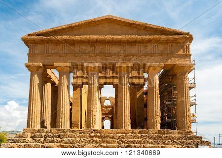 Facade Of The Temple Of Concordia, In The Valley Of Temples Of Agrigento