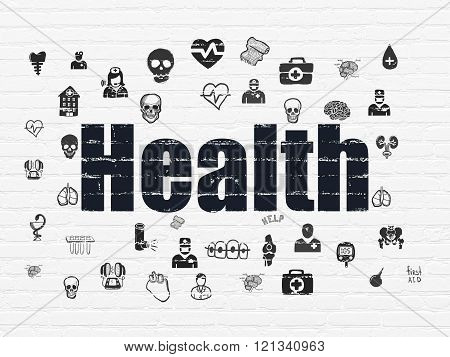 Health concept: Health on wall background