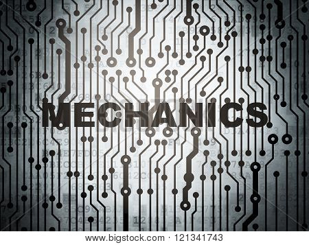 Science concept: circuit board with Mechanics