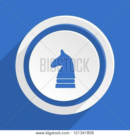 chess horse blue flat design modern icon