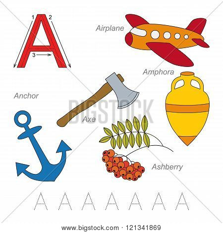 Tracing Worksheet for children. Full english alphabet from A to Z pictures for letter A the colorful version.