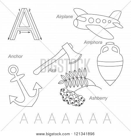 Tracing Worksheet for children. Full english alphabet from A to Z pictures for letter A the colorless version.