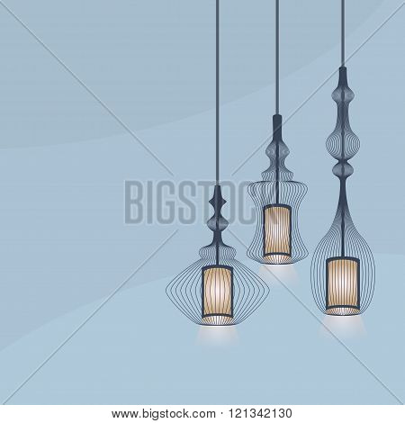 Set of detail hanging lanterns light chandeliers on blue background with copy space for your text