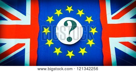 Brexit referndum concept with flags and question mark
