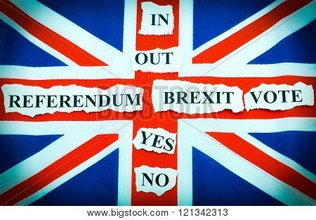 Brexit UK EU referndum concept with keywords