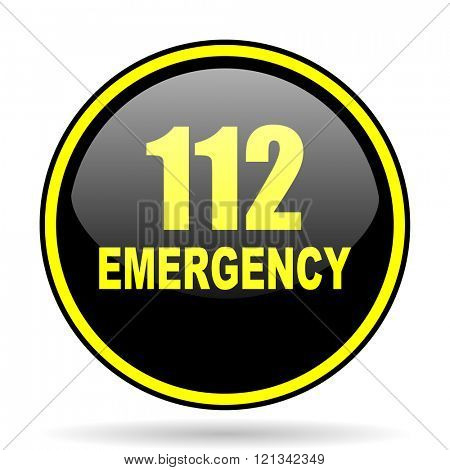 number emergency 112 black and yellow modern glossy web icon