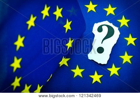 European Union concept with flag and question mark