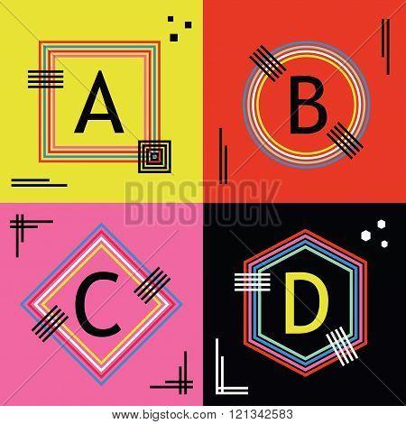 Colorful line capital letters A, B, C, and D emblems icons set