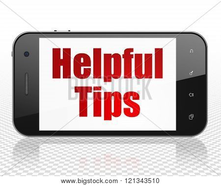 Education concept: Smartphone with Helpful Tips on display