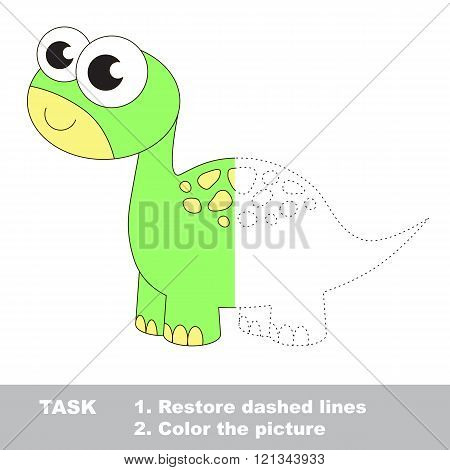 Dino in vector colorful to be traced. Restore dashed line and color the picture. Visual game for children. Worksheet to be colored.