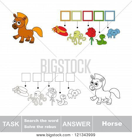 Vector rebus game for children. Find solution and write the hidden word Horse