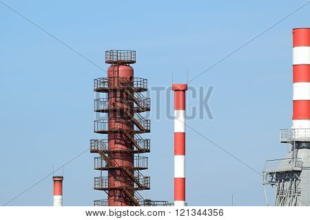 Pipes refinery furnaces and distillation column