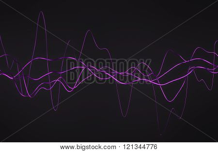 Abstract 3D Rendering of Glossy Wavy Lines.