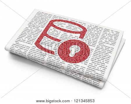Programming concept: Database With Lock on Newspaper background