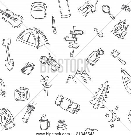 Hand drawn camping and hiking seamless pattern. Doodle camping elements. Picnic hiking travel and camping. Vector illustration