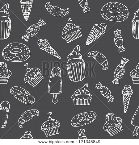 Hand drawn seamless pattern with cupcakes sweets bakery and desserts. Sweet desserts on grey background. Vector illustration