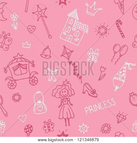 Hand Drawn Seamless Pattern With Princess Girl Doodle Design Elements. Sketchy Fairy Tale Princess O
