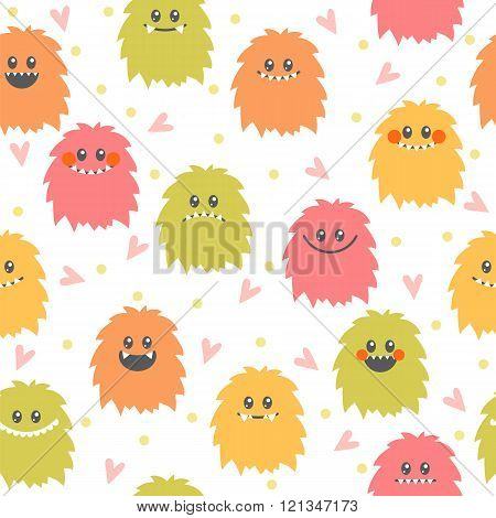 Seamless Pattern With Cartoon Smiley Monsters. Different Cute Fluffy Monsters Characters