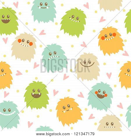 Seamless Pattern With Cute Cartoon Smiley Monsters. Different Fluffy Monsters Characters On White Ba