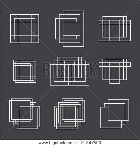 Set Of 9 Geometric Shapes Squares And Lines For Your Design. Trendy Hipster Icons And Logotypes. Eth
