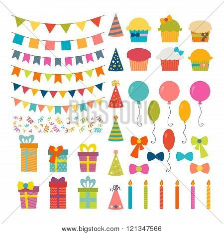 Set Of Birthday Party Design Elements. Colorful Balloons, Flags, Confetti, Cupcakes, Gifts, Candles,