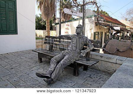 Worker Sculpture In The Town Of Zichron Yaakov