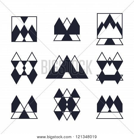 Set Of Geometric Shapes. Trendy Icons And Logotypes. Religion, Spirituality, Occultism Symbols Colle