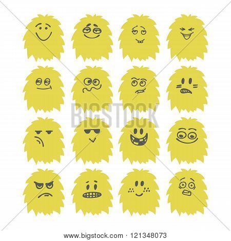 Set of hand drawn cute smiley monsters. Collection of different cartoon fluffy characters. Vector illustration
