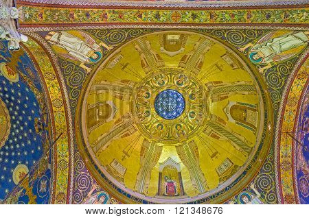JERUSALEM ISRAEL - FEBRUARY 16 2016: The dome of Church of All Nations decorated by mosaic icon with Evangelists and angels on the golden background on February 16 in Jerusalem.