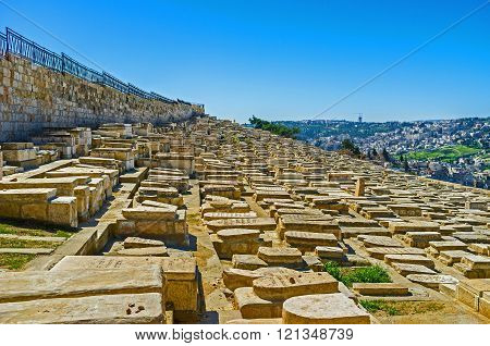 The Jewish Cemetery on the Mount of Olives is the most ancient and most important in Jerusalem Israel.