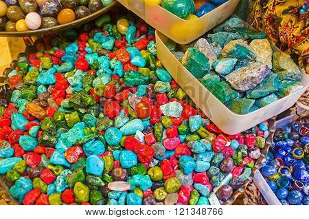 The red and green coralls turquoise lapis lazuli and other jewelry stones are the favorite tourist souvenirs in Eastern countries Jerusalem Israel.