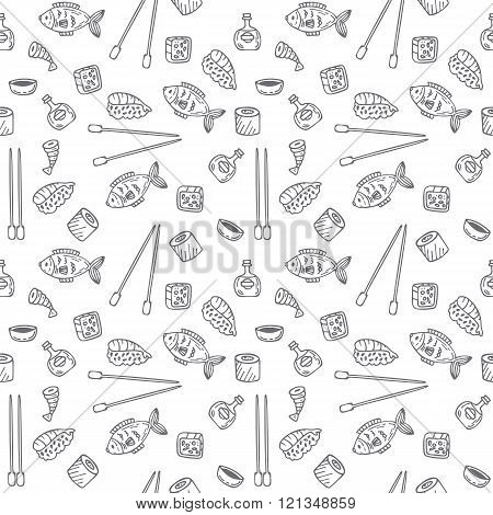 Sushi and rolls seamless pattern. Sushi texture. Hand drawn sketch Japanese food seamless background. Vector illustration