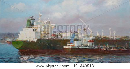 Tanker ships, classic handmade  painting