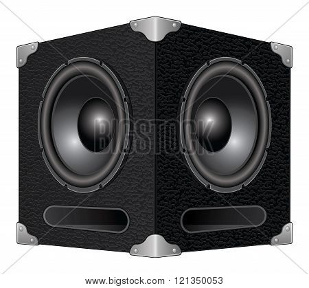 Illustration of a detailed woofer or subwoofer speaker box with two speakers.