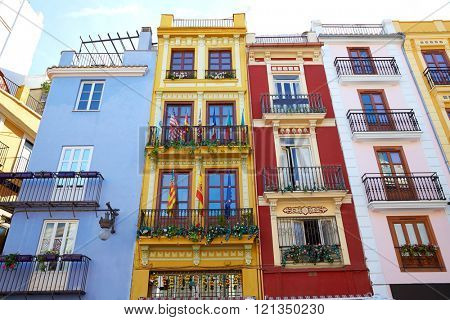 Valencia downtown facades near Mercado central market at Spain