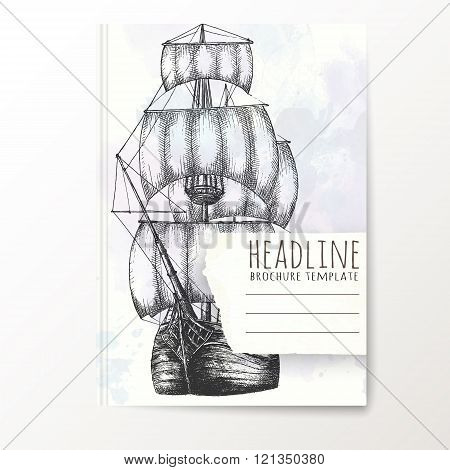 Notebook template with hand drawn ship.