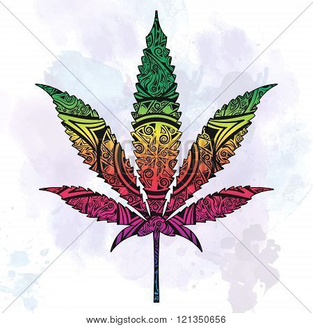 Marijuana in abstract ornate.