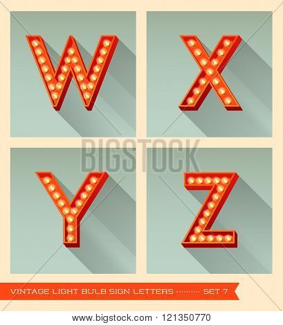 Vintage light bulb sign letters w, x, y, z.