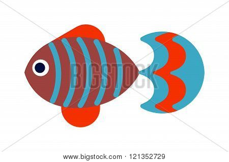 Fish flat icon vector isolated on white background.