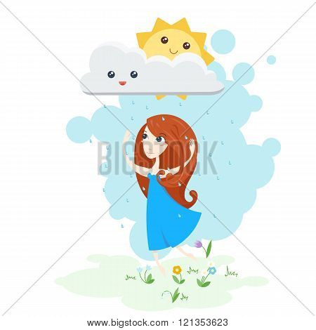 Vector illustration of a beautiful girl dancing in the rain and the sun smiling.