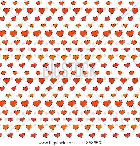 Fun seamless love heart background.