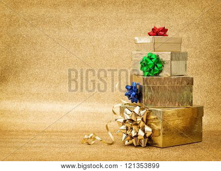 Gift Boxes With Ribbon Bow. Festive Arrangement