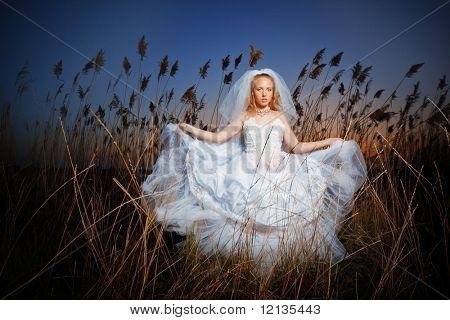 Novia posando mostrando su vestido de novia en broza de rush