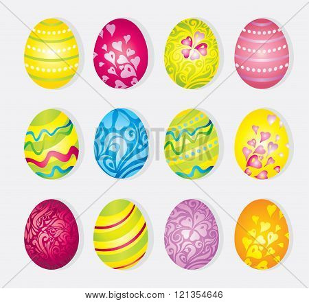Vector colorful set of painted cartoon easter eggs