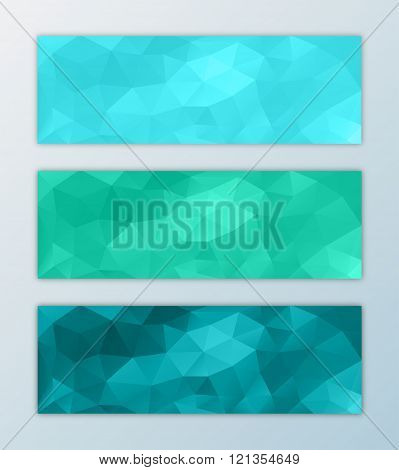 Website banner template set abstract triangle polygon background design