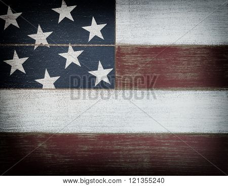 Usa National Colors Painted On Faded Wooden Boards With Vignette Effect