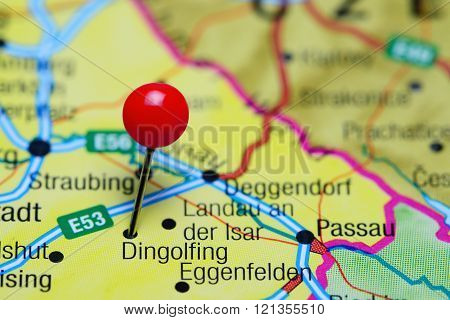 Dingolfing pinned on a map of Germany