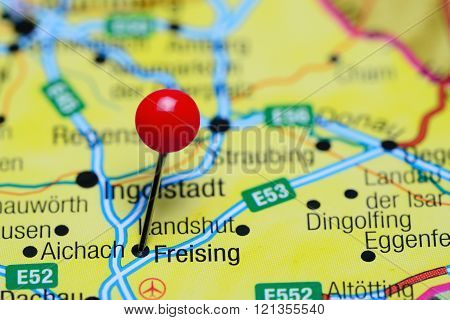 Freising pinned on a map of Germany