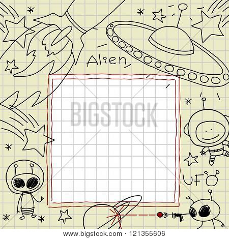 Child's drawings of space and aliens in a notebook (raster version)