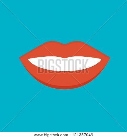 Female mouth isolated vector illustration.